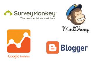 Screenshot of MailChimp, SurveyMonkey, GoogleAnalytics and Blogger logos