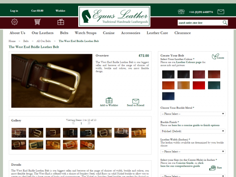 A screenshot of Equus Leather product page