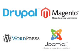 Screenshot of Drupal, Joomla, Kentico and Wordpress logos
