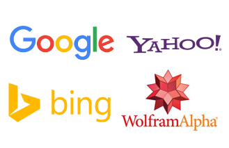 Picture of Google, Yahoo, Bing and WolframAlpha logos