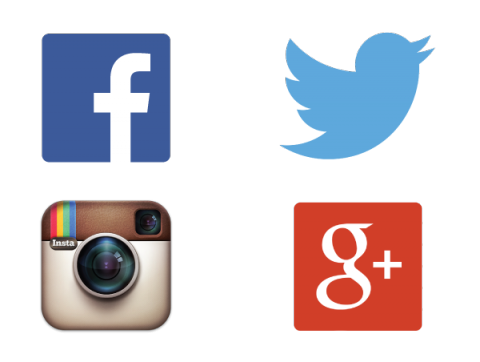 Social Media Logos, Facebook, Twitter, Instagram and Google+