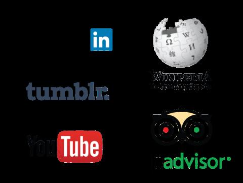 Social Media Logos, Linkedin, Tumbler, YouTube, Wikipedia, Tripadvisor